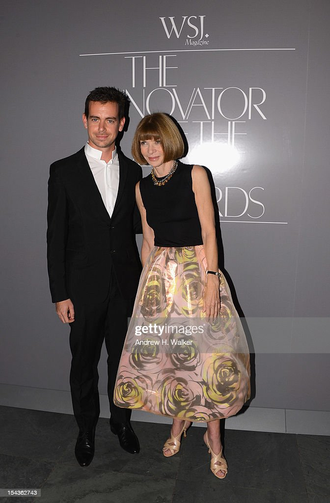 Creator of Twitter and founder and CEO of Square <a gi-track='captionPersonalityLinkClicked' href=/galleries/search?phrase=Jack+Dorsey&family=editorial&specificpeople=5818892 ng-click='$event.stopPropagation()'>Jack Dorsey</a> and Editor-in-chief of American Vogue <a gi-track='captionPersonalityLinkClicked' href=/galleries/search?phrase=Anna+Wintour&family=editorial&specificpeople=202210 ng-click='$event.stopPropagation()'>Anna Wintour</a> attend WSJ. Magazine's 'Innovator Of The Year' Awards at MOMA on October 18, 2012 in New York City.