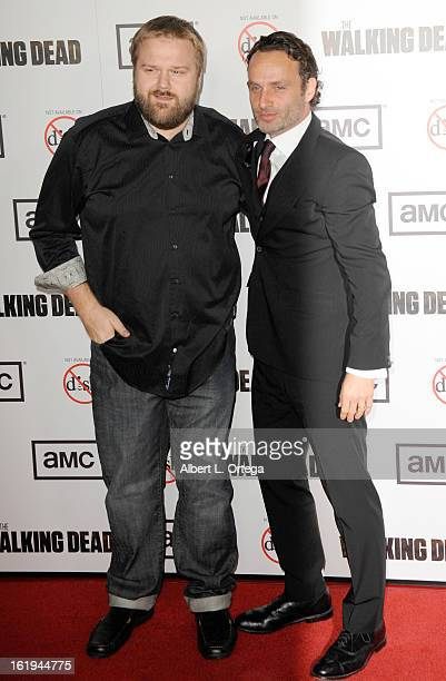 Creator Robert Kirkman and actor Andrew Lincoln arrive for AMC's 'The Walking Dead' Season 3 Premiere held at AMC Universal Citywalk Stadium 19 on...