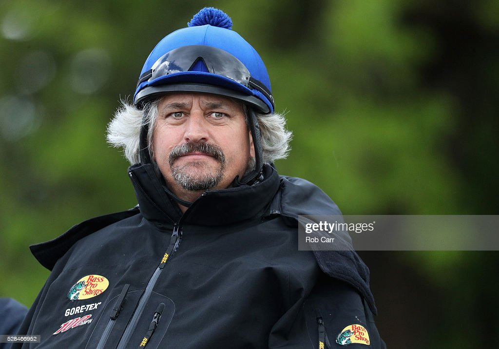 Creator trainer Steve Asmussen looks on after watching his horse train for the Kentucky Derby at Churchill Downs on May 05, 2016 in Louisville, Kentucky.
