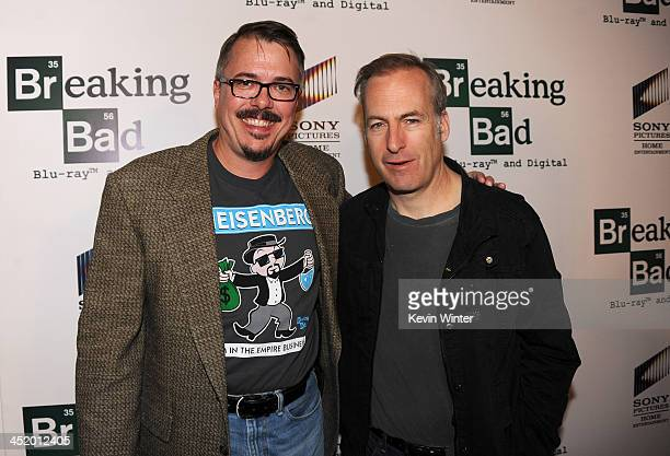 Creator Vince Gilligan and actor Bob Odenkirk arrive at the screening of 'No Half Measures Creating The Final Season Of Breaking Bad' DVD Launch at...