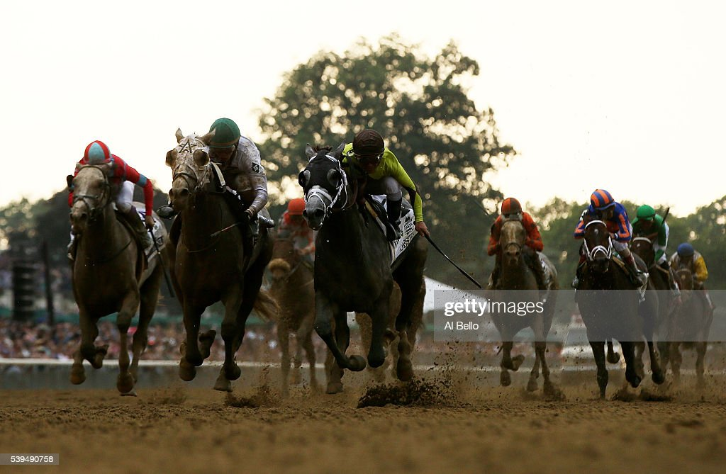Creator with jockey Irad Ortiz Jr up and Destin with jockey Javier Castellano up race to the finish during The 148th running of the Belmont Stakes at...