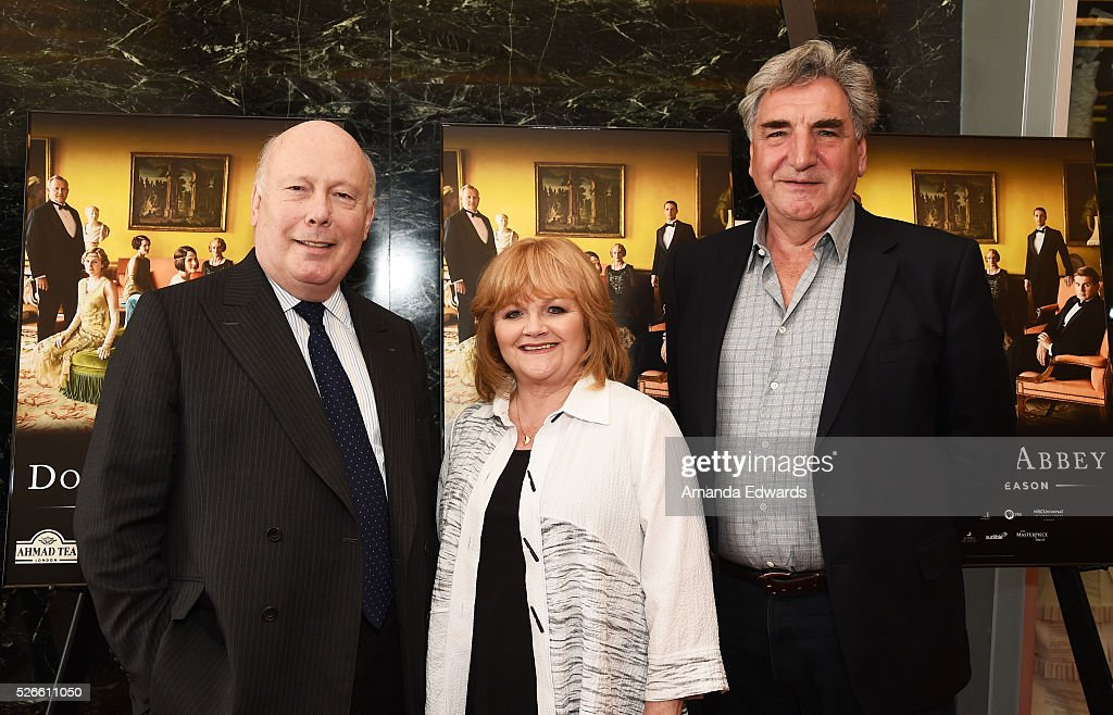Creator, writer and executive producer <a gi-track='captionPersonalityLinkClicked' href=/galleries/search?phrase=Julian+Fellowes&family=editorial&specificpeople=224703 ng-click='$event.stopPropagation()'>Julian Fellowes</a>, actress Lesley Nicol and actor <a gi-track='captionPersonalityLinkClicked' href=/galleries/search?phrase=Jim+Carter+-+Actor&family=editorial&specificpeople=4534627 ng-click='$event.stopPropagation()'>Jim Carter</a> attend the 'Downton Abbey' For Your Consideration event and reception at the Linwood Dunn Theater at the Pickford Center for Motion Study on April 30, 2016 in Hollywood, California.