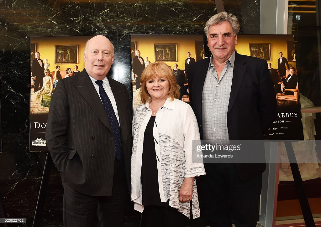 Creator, writer and executive producer Julian Fellowes, actress Lesley Nicol and actor Jim Carter attend the 'Downton Abbey' For Your Consideration event and reception at the Linwood Dunn Theater at the Pickford Center for Motion Study on April 30, 2016 in Hollywood, California.