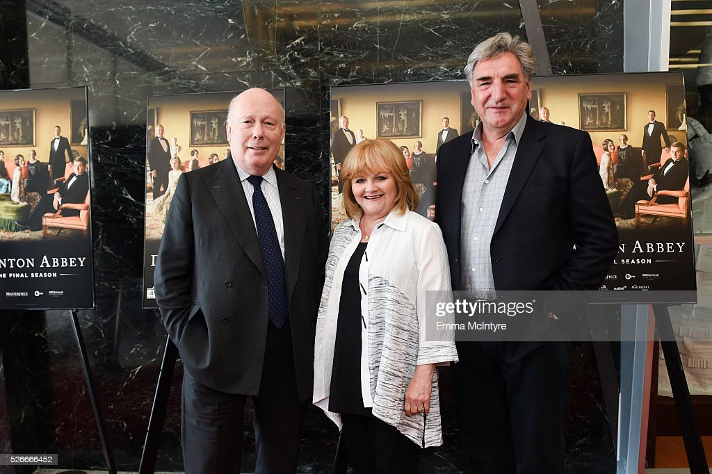 Creator, writer and executive producer Julian Fellowes, actress Lesley Nicol and actor Jim Carter attend the 'Downton Abbey' For Your Consideration event and reception at Linwood Dunn Theater at the Pickford Center for Motion Study on April 30, 2016 in Hollywood, California.