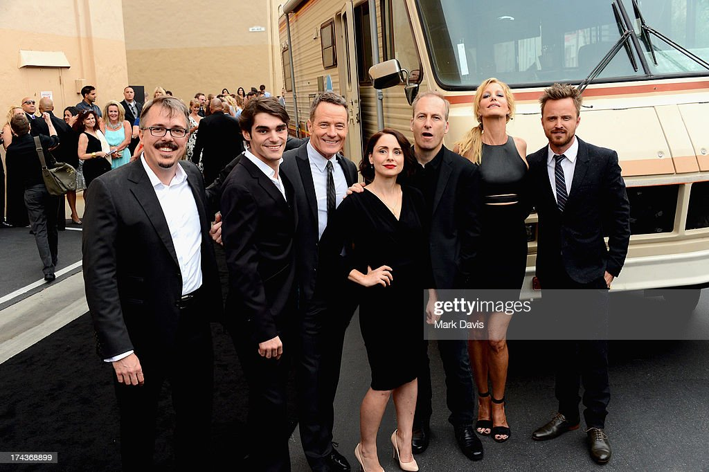 Creator/executive director Vince Gilligan actors RJ Mitte Bryan Cranston Laura Fraser Bob Odenkirk Anna Gunn and Aaron Paul arrive as AMC Celebrates...