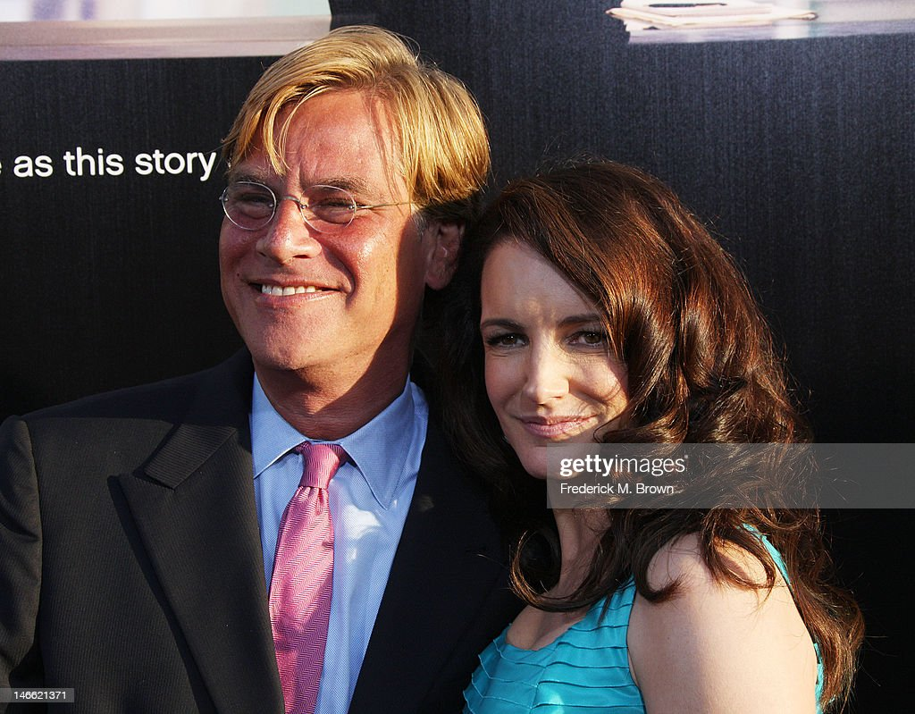 Creator/executive producer Aaron Sorkin (L) and actress Kristin Davis attend the Premiere Of HBO's 'The Newsroom' at the ArcLight Cinemas Cinerama Dome on June 20, 2012 in Hollywood, California.