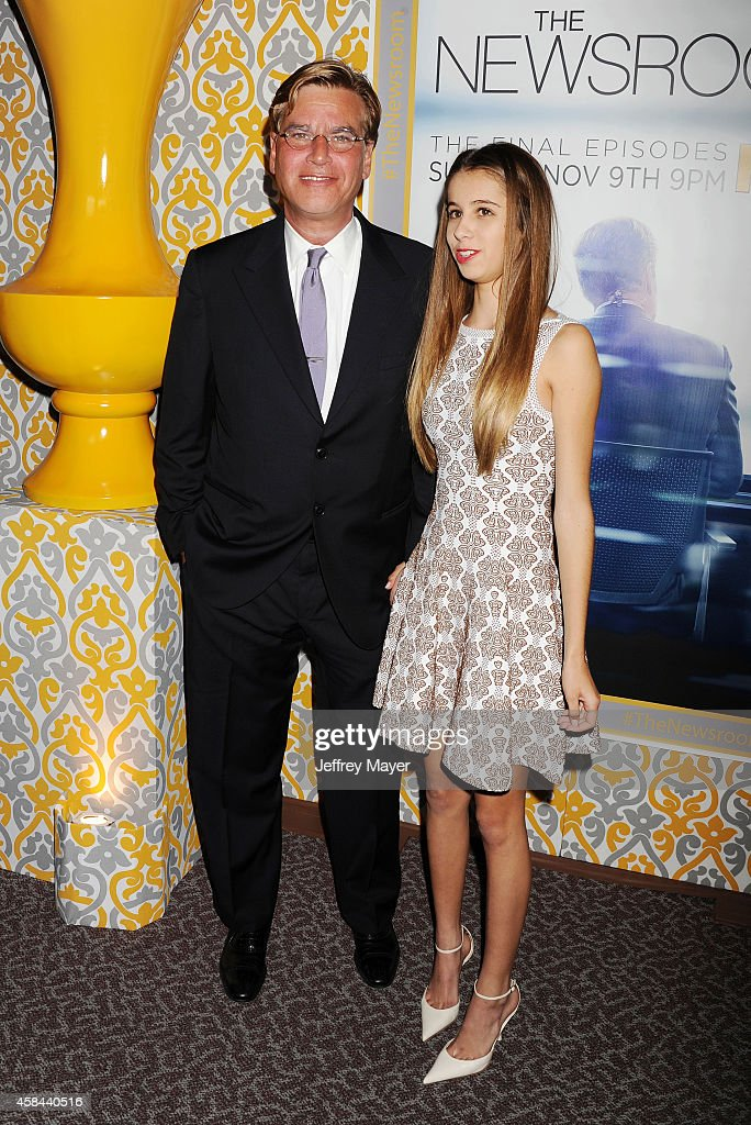 Creator/executive producer Aaron Sorkin and daughter Roxy Sorkin attend the Los Angeles season 3 premiere of HBO's series 'The Newsroom' held at the...