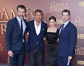 Creator/executive producer David Benioff HBO Chairman and CEO Richard Plepler actress Emilia Clarke and creator/executive producer DB Weiss attend...