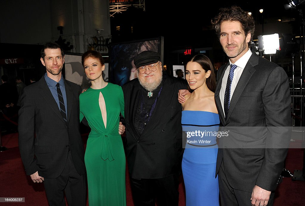 Creator/Executive Producer D.B Weiss, actress Rose Leslie, Co-Executive Producer and writer George R. R. Martin, actress Emilia Clarke, and Creator/Executive Producer David Benioff arrive at the premiere of HBO's 'Game Of Thrones' Season 3 at TCL Chinese Theatre on March 18, 2013 in Hollywood, California.