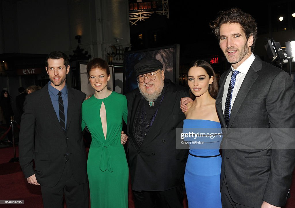 Creator/Executive Producer D.B Weiss, actress Rose Leslie, Co-Executive Producer and writer George R. R. Martin, actress <a gi-track='captionPersonalityLinkClicked' href=/galleries/search?phrase=Emilia+Clarke&family=editorial&specificpeople=7426687 ng-click='$event.stopPropagation()'>Emilia Clarke</a>, and Creator/Executive Producer <a gi-track='captionPersonalityLinkClicked' href=/galleries/search?phrase=David+Benioff&family=editorial&specificpeople=2097877 ng-click='$event.stopPropagation()'>David Benioff</a> arrive at the premiere of HBO's 'Game Of Thrones' Season 3 at TCL Chinese Theatre on March 18, 2013 in Hollywood, California.