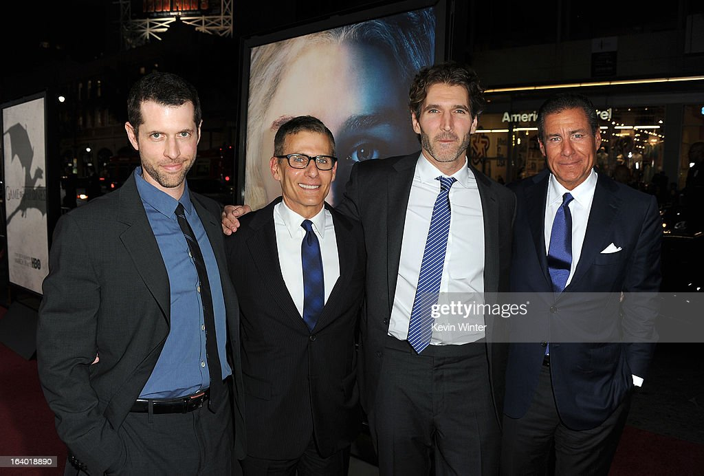 Creator/Executive Producer D.B. Weiss, President HBO Programming Mike Lombardo, Creator/ Executive Producer David Benioff, and CEO, HBO Richard Plepler arrive at the premiere of HBO's 'Game Of Thrones' Season 3 at TCL Chinese Theatre on March 18, 2013 in Hollywood, California.