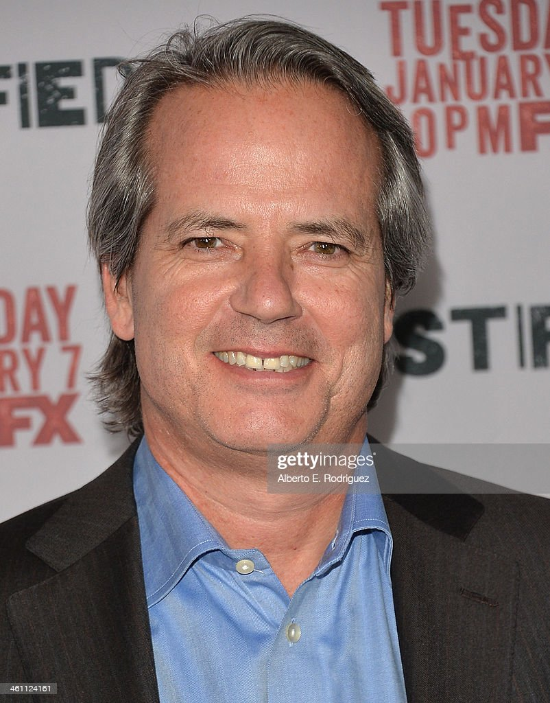 Creator/executive producer Graham Yost arrives to the Season 5 premiere of FX's 'Justified' at DGA Theater on January 6, 2014 in Los Angeles, California.