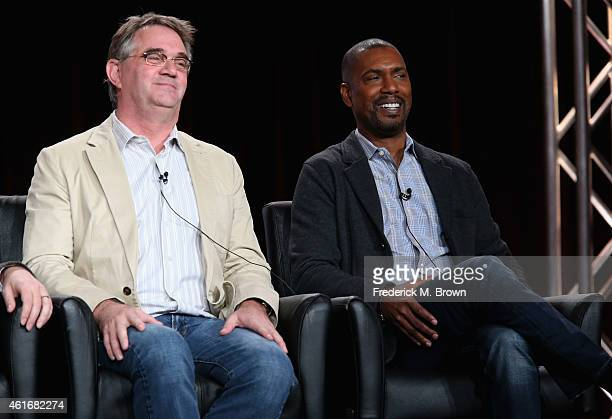 Creator/Executive Producer Hart Hanson and Executive Producer Kevin Hooks speak onstage during the 'Backstrom' panel discussion at the FOX portion of...