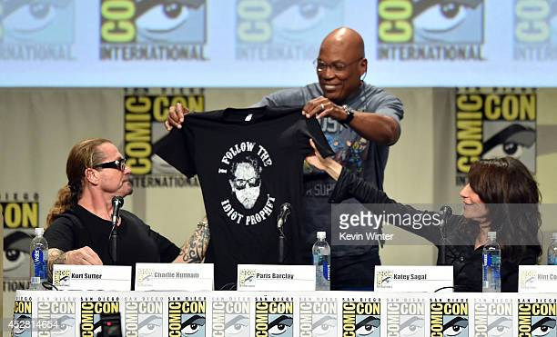 Creator/executive producer Kurt Sutter executive producer/director Paris Barclay and actress Katey Sagal attend FX's 'Sons of Anarchy' panel during...