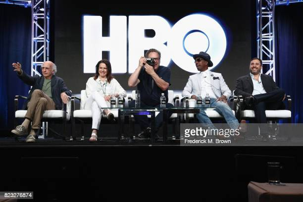 Creator/executive producer Larry David Susie Essman executive producer Jeff Garlin J B Smoove and executive producer Jeff Schaffer of 'Curb Your...