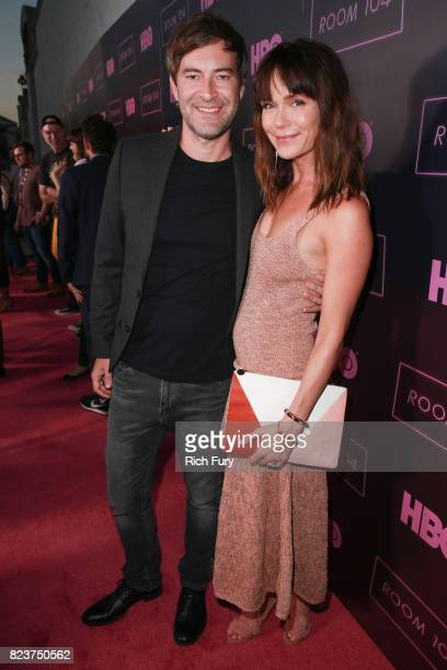 Creator/executive producer Mark Duplass and actor Katie Aselton attend the premiere Of HBO's 'Room 104' at Hollywood Forever on July 27 2017 in...