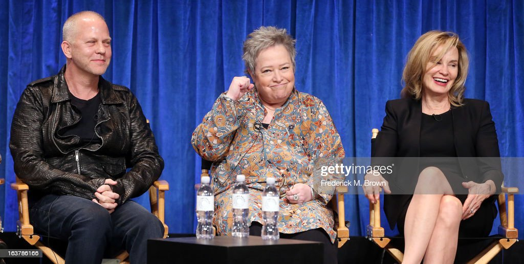 Creator/Executive producer Ryan Murphy, and actresses <a gi-track='captionPersonalityLinkClicked' href=/galleries/search?phrase=Kathy+Bates+-+Actrice&family=editorial&specificpeople=171565 ng-click='$event.stopPropagation()'>Kathy Bates</a> and <a gi-track='captionPersonalityLinkClicked' href=/galleries/search?phrase=Jessica+Lange&family=editorial&specificpeople=203310 ng-click='$event.stopPropagation()'>Jessica Lange</a> speak during The Paley Center For Media's PaleyFest 2013 Honoring 'American Horror Story: Asylum' at the Saban Theatre on March 15, 2013 in Beverly Hills, California.