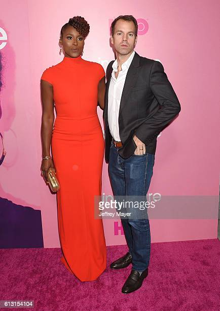 Creator/executive producer/actress Issa Rae and President of Programming for HBO Casey Bloys attend the premiere of 'Insecure' at Nate Holden...