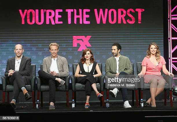 Creator/executive producer/showrunner Stephen Falk actors Chris Geere Aya Cash Desmin Borges and Kether Donohue speak onstage at 'You're the Worst'...