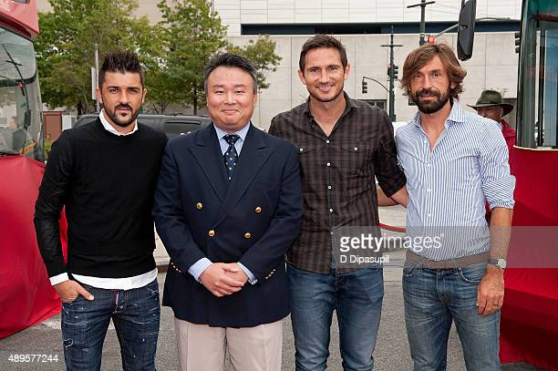 Creator/producer at Ride of Fame David W Chien poses with professional footballers David Villa Frank Lampard and Andrea Pirlo during the New York...