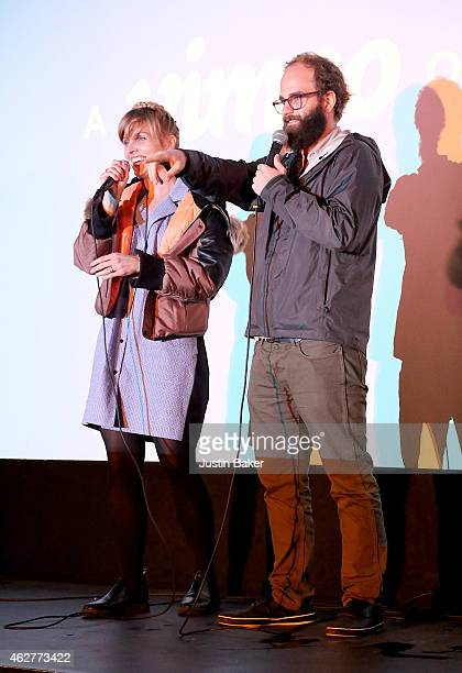 Creators and Actors Katja Blechfeld and Ben Sinclair answer questions at Vimeo's original series 'High Maintenance' screening at Cinefamily on...