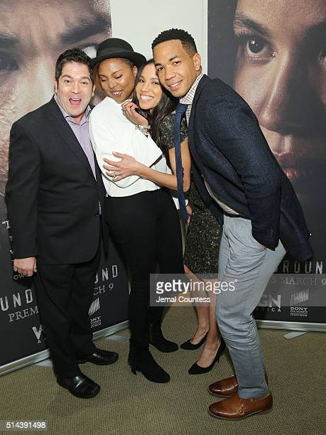 Creators and Executive producers Joe Pokaski and Misha Green actress Jurnee SmollettBell and actor Alano Miller attend WGN America Presents the New...