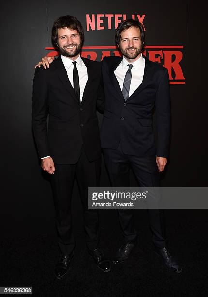 Creators and executive producers Ross Duffer and Matt Duffer arrive at the premiere of Netflix's 'Stranger Things' at Mack Sennett Studios on July 11...