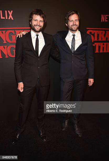 Creators and Executive Producers Ross Duffer and Matt Duffer attend the Premiere of Netflix's 'Stranger Things' at Mack Sennett Studios on July 11...