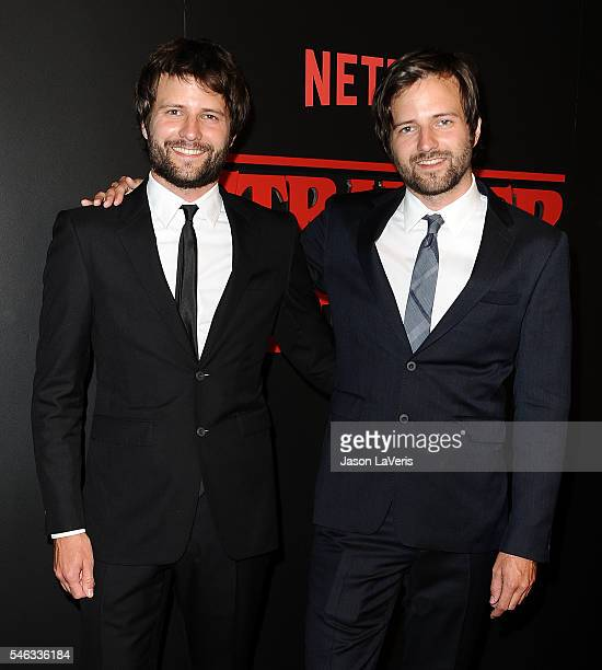 Creators and Executive Producers Ross Duffer and Matt Duffer attend the premiere of 'Stranger Things' at Mack Sennett Studios on July 11 2016 in Los...