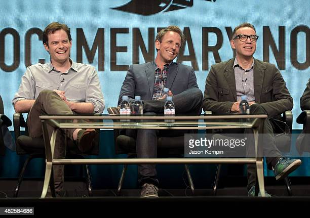 Creators Bill Hader Seth Meyers and Fred Armisen of Documentary Now attend the IFC summer 2015 TCA Panel at The Beverly Hilton Hotel on July 31 2015...