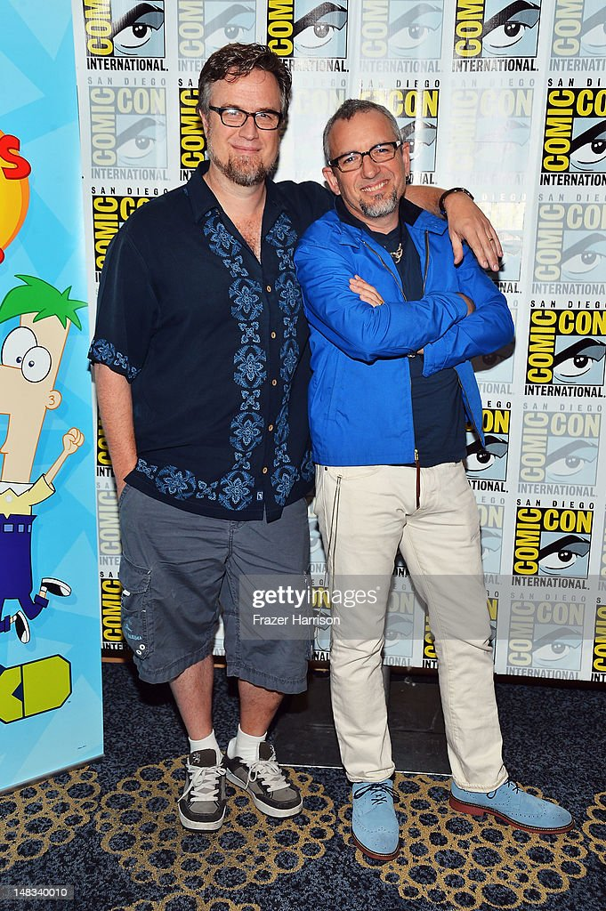 Creators <a gi-track='captionPersonalityLinkClicked' href=/galleries/search?phrase=Dan+Povenmire&family=editorial&specificpeople=6858681 ng-click='$event.stopPropagation()'>Dan Povenmire</a> and Jeff 'Swampy' Marsh attend Disney's 'Phineas And Ferb' 'Gravity Falls' and 'Fish Hooks' Press Room during Comic-Con International 2012 at Hilton San Diego Bayfront Hotel on July 14, 2012 in San Diego, California.