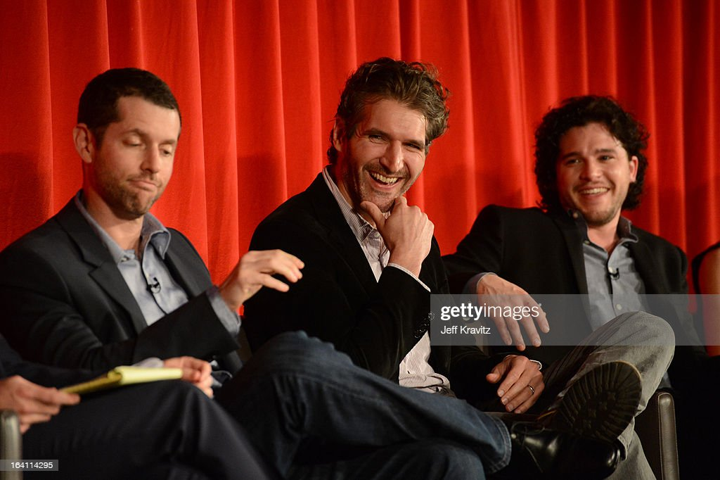 Creators D.B. Weiss, <a gi-track='captionPersonalityLinkClicked' href=/galleries/search?phrase=David+Benioff&family=editorial&specificpeople=2097877 ng-click='$event.stopPropagation()'>David Benioff</a> and actor Kit Harrington attend the Academy of Television Arts & Sciences an evening with HBO's 'Game Of Thrones' at TCL Chinese Theatre on March 19, 2013 in Hollywood, California.