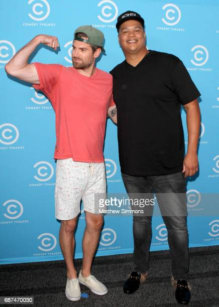 Creators Quinn Hawking and Josiah Johnson of 'Legends of Chamberlain Heights' attend Comedy Central's LA Press Day at Viacom Building on May 23 2017...