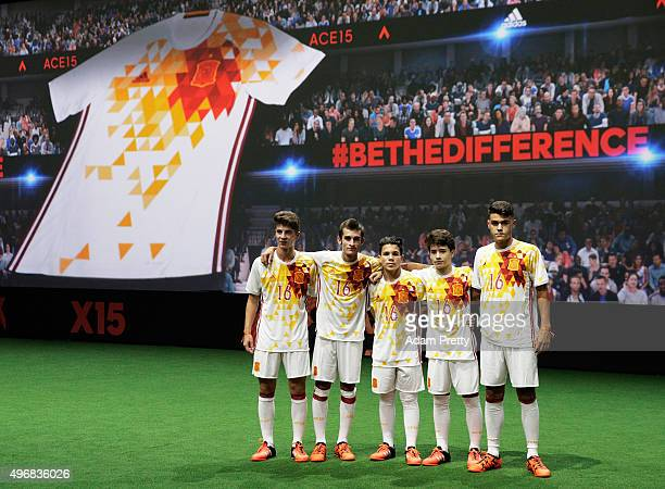 Creators reveal the adidas Spain away kit for the UEFA 2016 Euro Championship at the World's first digital stadium The Future Arena on November 12...