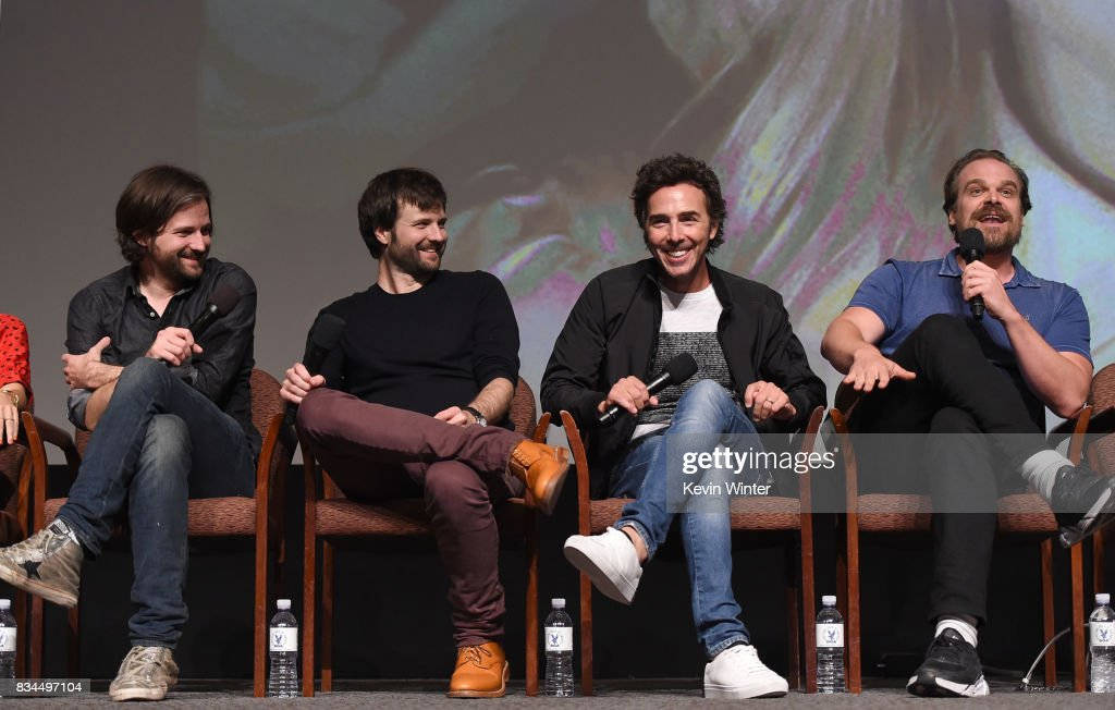 Creators, writers, executive producers and showrunners Matt Duffer, Ross Duffer, director, executive producer Shawn Levy and actor David Harbour speak onstage at a reception and q&a for Netflix's 'Stranger Thing' at the Directors Guild on August 17, 2017 in Los Angeles, California.