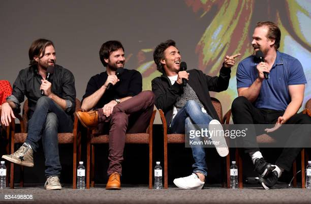 Creators writers executive producers and showrunners Matt Duffer Ross Duffer director executive producer Shawn Levy and actor David Harbour speak...