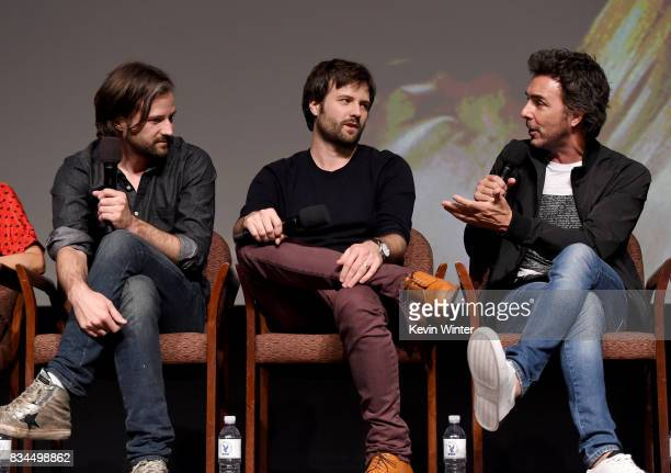 Creators writers executive producers and showrunners Matt Duffer Ross Duffer and director executive producer Shawn Levy speak onstage at a reception...