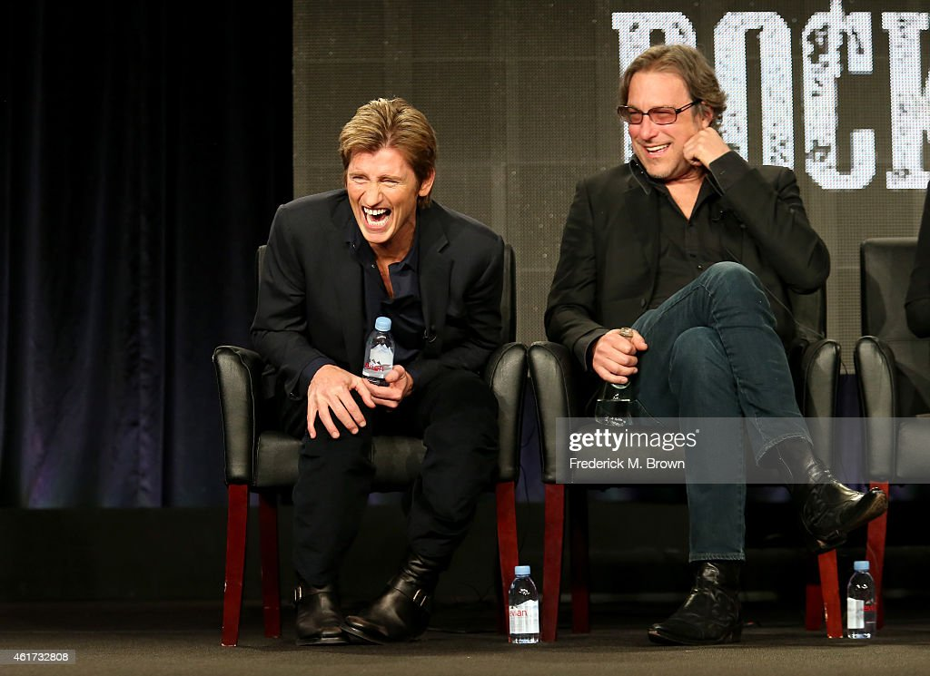 Creator/writer/actor Denis Leary and actor John Corbett speak onstage during the 'SexDrugsRockRoll' panel discussion at the FX Networks portion of...