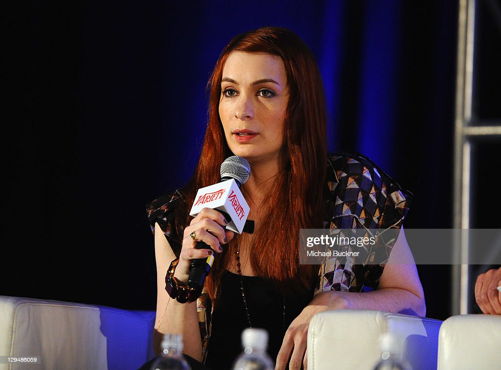 Creator/writer/star of The Guild <a gi-track='captionPersonalityLinkClicked' href=/galleries/search?phrase=Felicia+Day&family=editorial&specificpeople=2499112 ng-click='$event.stopPropagation()'>Felicia Day</a> speaks at Variety's 2011 Entertainment And Technology Summit at Ritz Carlton Hotel on October 17, 2011 in Marina del Rey, California.