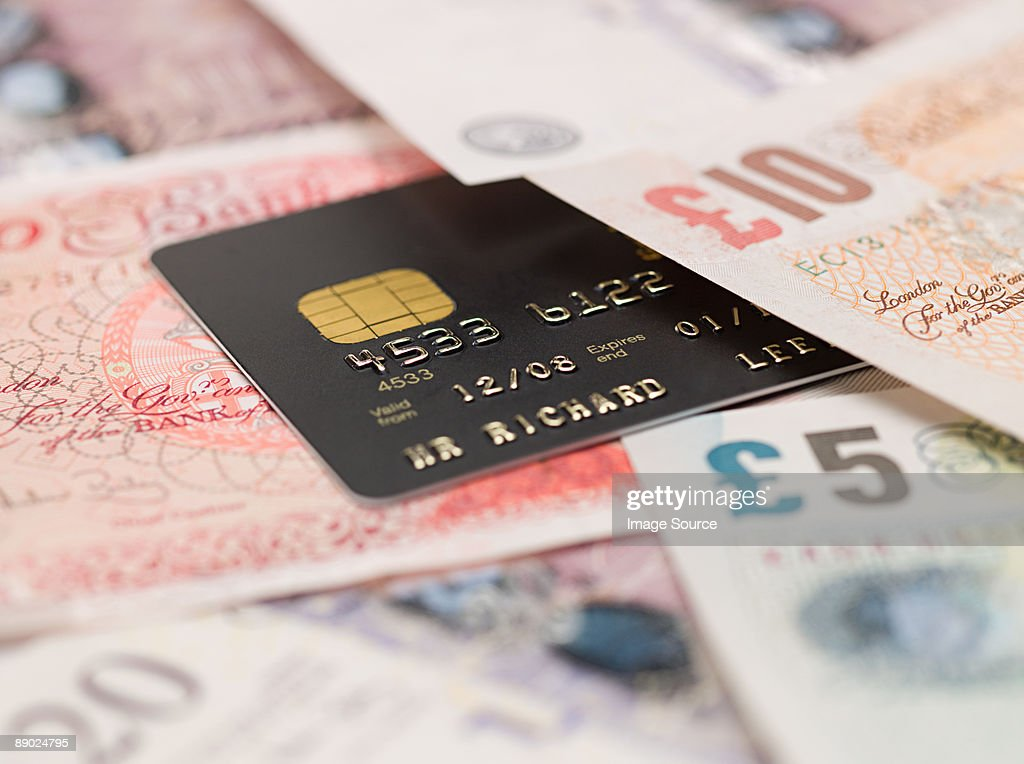 Credit card and banknotes