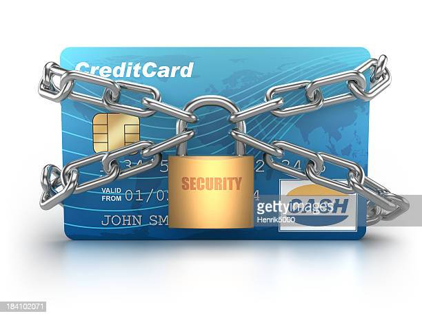 Credit Card chained with padlock - isolated / clipping path