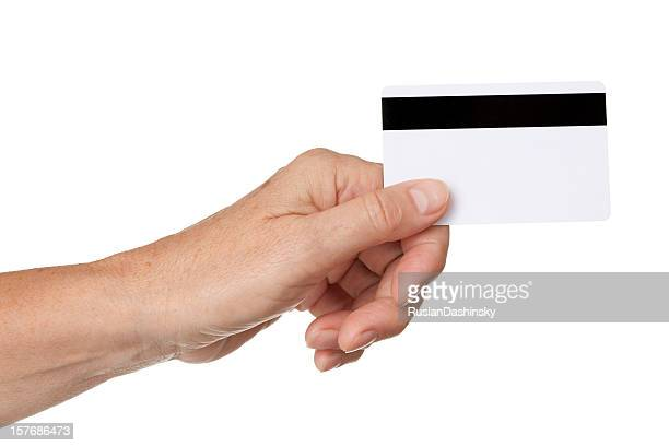 Credit card in hand.