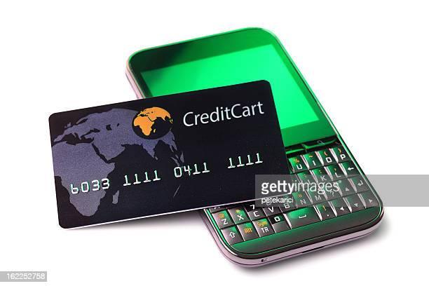 Kreditkarte auf der Cellphone