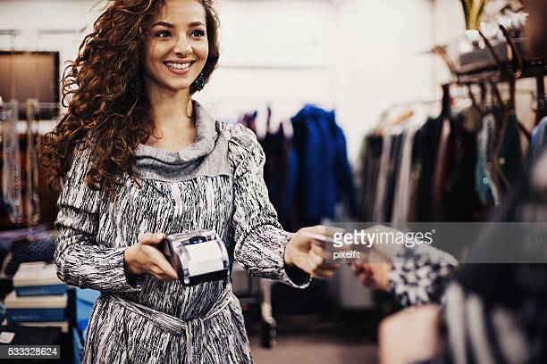 Credit card payment in a fashion store