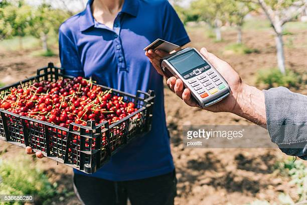 Credit card payment on the farmer's market