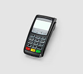 Macro close up shot with Pos terminal keys and a credit card