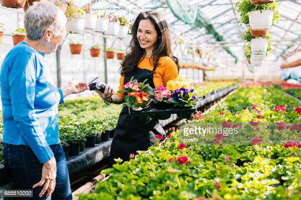 Credit card purchase in the flower nursery