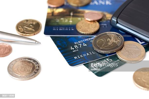 credit cards and euro coins