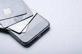 Credit cards on the phone. Online payment, shopping from home. Creative processing. copy space