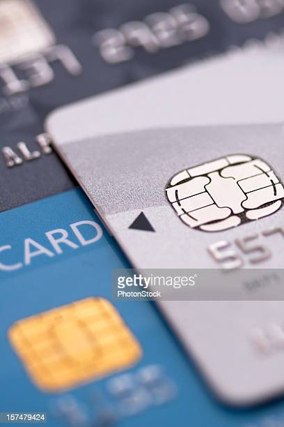 Credit cards with EMV chip - Macro shot